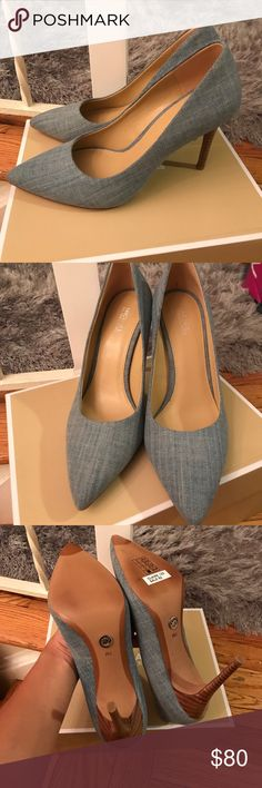 Michael kors denim heels Very stylish brand new Michael Kors Shoes Heels