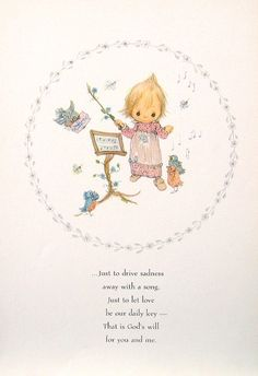 """Betsey Clark Precious Moments - """"Just To Drive Sadness..."""" - 1972 Vintage Book Page"""