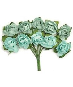 Websters Pages Whimsies Resin Embellishment 6 Roses in Bloom Blue color