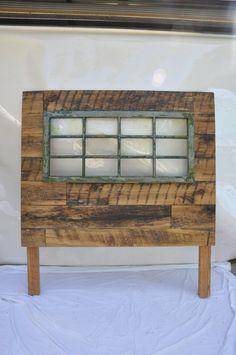 wood headboard with antique window pane insert
