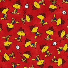 Camp Peanuts Woodstock Marshmallows on Red Cotton Fabric