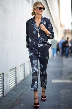 Pyjama outfit inspiration | #fashion A silk printed suit is elevated with velvet platform heels.