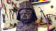 French sculptor Alain Bellino has quite an impressive portfolio of metal sculptures with some sci-fi references, but this Darth Vader helmet made from old brass ornaments is pretty incredible.