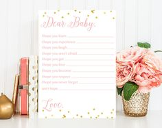 Dear Baby - Baby Shower Game Printable - Wishes For Baby Game - Baby Shower Game - Instant Download - Pink Gold Confetti Baby Shower BAS7