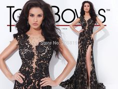 A Line Straps Sweetheart Black Lace Prom Dresses, Luxury Formal Gown, Lace Evening Dresses 114C36