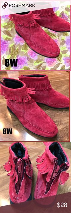 Leather Fringe Moccasins Leather upper with rubber sole.  Marked 8W, please see measurement pic.  Worn once inside-see minor markings on leather on sides of shoe, not really noticeable, but disclosing-may be able to be removed. Shoes Ankle Boots & Booties
