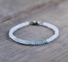 Ombre Pale Aquamarine & Moonstone Delicate Bracelet, Natural Gemstone Crystal Bracelet, Aqua Blue White Beaded Bracelet, Moonstone Jewelry