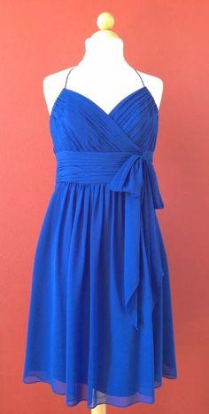 RALPH LAUREN Evening Royal Blue Silk Chiffon Empire Waist Dress Size 10 #LaurenRalphLauren #EmpireWaist #Cocktail