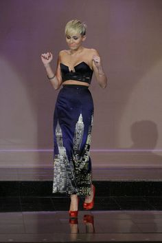 Miley Cyrus: I kinda love this Anthony Vaccarello bustier and Moshino maxi skirt combo!!!