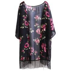 Floral Print Fringe Collarless Half Sleeve Kimono ($18) ❤ liked on Polyvore featuring intimates, robes, floral fringe kimono, floral kimono robe, kimono robe, floral robe and floral kimono