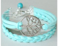 Items similar to Silver TREE of Life Bracelet - PINK Faux Suede Leather Cord karma Friendship Tree of Life Charm Bracelet - Made in CANADA on Etsy
