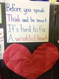 Classroom Community Building Have student wrinkle up the paper heart (not tearing it) and then try to flatten it out. Discuss how words or actions can harm a heart and take time to heal. Good first week of school activity Classroom Behavior, Future Classroom, Classroom Management, Behavior Management, Classroom Ideas, Classroom Expectations, Classroom Procedures, Classroom Quotes, Time Management