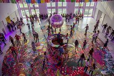 assume vivid astro focus's roller disco installation at Faena Art Center. Photo: Carolina Bonfanti.