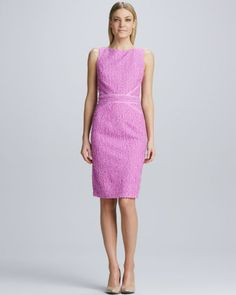 Tweed Ribbon-Trimmed Sheath Dress by David Meister at Neiman Marcus.