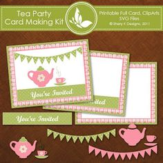 Shery K Designs: Free Tea Party Invitation Card making Kit