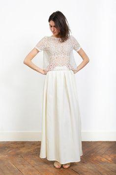 Robes d'été / robes de soirée - demi-mesure - L'AMUSÉE - L'AMUSÉE Paris Short Sleeve Dresses, Dresses With Sleeves, Bustier, Two Pieces, Lace Skirt, Marie, White Dress, Formal, Wedding Dresses