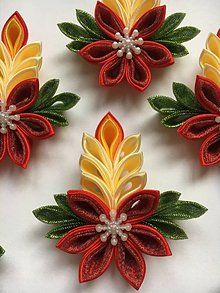 #kanzashi #christmas #candles #fabric #origami #tutorials #inspiration #fabricorigami