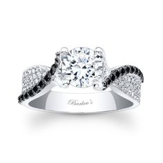 This is perfect for me ----Black Diamond Engagement Ring - Black and white and stunning this unique diamond engagement ring captures the essence of style and grace.  Featuring a prong set round diamond center with pave set black and white diamonds artfully adorning the shoulders.    Also available in 18k and Platinum.