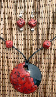 Koralle by Magic_Toscana - Red & Black Polymer Clay Necklace & Earrings Set