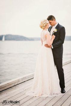 Wedding dress by Pukuni (www.pukuni.fi) Lace back, buttons, powder color, beaded sleeves, lace wedding dress, bridal.