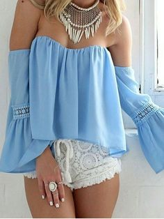 Baby Blue,Frill,Off Shoulder,Long Flare Sleeve,Blouse,Crochet