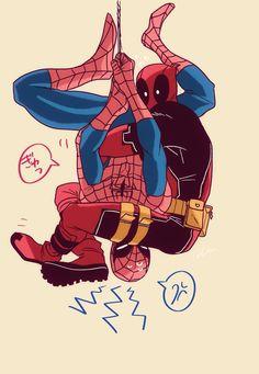Marvel // Deadpool x Spiderman Deadpool X Spiderman, Lady Deadpool, Cute Deadpool, Lego Marvel, Marvel Art, Deadpool Tattoo, Deadpool Movie, Spideypool, Superfamily