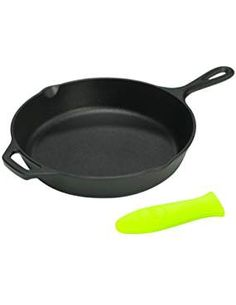 Lodge Logic 8 Inch Skillet with Green Silicone Handle Holder Lodge Skillet, Cast Iron Skillet, Skillets, Cookware, Handle, Link, Check, Juice, Cast Iron Frying Pan