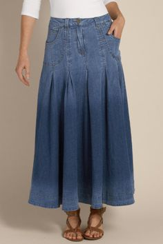 Pleated Denim Skirt I - Contour Waistband, Inverted Pleats, A-line, Vintage Denim, Classic Fit | Soft Surroundings