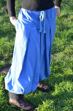 Hosen - Fairtrade Hose - Hakama Pluderhose blau, kl. Größe - ein Designerstück von FairTale bei DaWanda