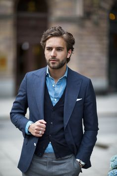 Men's Fashion | Menswear | Men's Outfit for the Office | Gray Pants/Trouser, Blue Shirt, Navy Cardigan and Suit Jacket | Moda Masculina | Shop at designerclothingfans.com