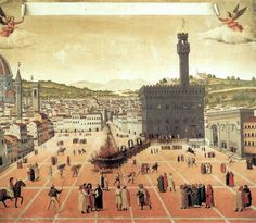 Piazza della Signoria in Florence in 1498. From illicit usurers to magnificent statesmen: Florence's dynamic perceptions of wealth, economics and banking from the 13th to the 15th century.