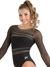 Modern chic long sleeve leotard from GK Gymnastics - Olympic Gymnastics Long Sleeve Gymnastics Leotards, Gymnastics Competition Leotards, Gymnastics Suits, Gym Leotards, Long Sleeve Leotard, Olympic Gymnastics, Gymnastics Girls, Artistic Gymnastics Leotards, Gymnastics Things