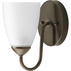 Progress Lighting Gather Collection 1 Light Antique Bronze Bath Sconce With Etched Glass Shade