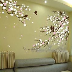 Whole Visual (approx):  Overall size:  AS THIRD PHOTO SHOW  Display Image Info: Color – Coffee brown Branch, White, soft pink blossoms with coffee brown flying birds. Available in any 3~4...
