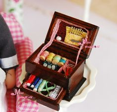 Find More Doll Houses Information about Vintage Sewing Needlework Needle kit box 1:12 Dollhouse Miniature height 2.2CM,High Quality box display,China box rattan Suppliers, Cheap box latch from Minidreamworld on Aliexpress.com