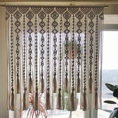 Macrame Curtain/ Large Macrame Wallhanging/ Kitchen Valance/ Wedding Backdrop/ Wallhanging/ Cotton Curtain/ Beige Macrame - Wedding World Macrame Wall Hanging Diy, Macrame Curtain, Macrame Art, Macrame Projects, Macrame Knots, Art Macramé, Cotton Curtains, Crochet Curtains, Diy Curtains