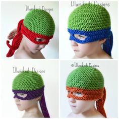 These Turtle Ninja crochet hats made with premium acrylic yarn are the perfect disguise for the pizza eating Ninja Turtle in your family. The designer, illumiknitiDesign, makes them to order and su…