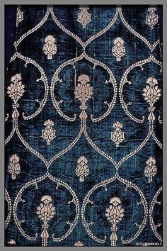 Date: late century Culture: Italian Medium: Silk and metal threads Dimensions: L. 43 x 37 inches x cm) Classification: Textiles-Velvets Credit Line: Rogers Fund, 1945 Accession Number: Motifs Textiles, Textile Patterns, Textile Design, Fabric Design, Print Patterns, Pattern Design, Floral Patterns, Vintage Patterns, Objets Antiques