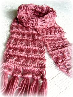 Pink Scarf  Crochet Scarf  Broomstick Lace.  i have never tried to do broomstick lace before