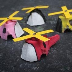 Hubschrauber aus Eierkarton