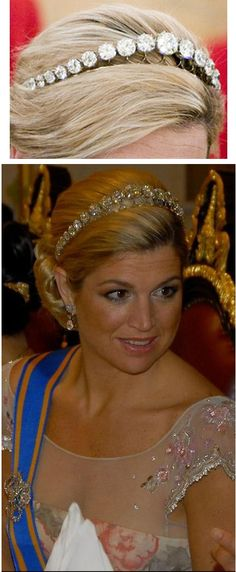 Princess Maxima, now Queen Maxima of the Netherlands, wears this simple but stunning diamond bandeau. The Diamond Bandeau consists of twenty-seven very large old mine diamonds set as a single graduating row on platinum frame. The central diamond, with light yellowish hue (Cape), is slightly oval. The large diamonds were taken from the rivière of 34 large old European cut diamonds. Bandeau contains more than 100 carat weight in diamonds.