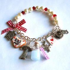Alice in Wonderland Bracelet Eat Me Drink Me Charm Bracelet Alice in Wonderland Jewelry on Etsy, $74.23 CAD
