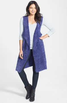 Phase 3 Eyelash Fringe Vest available at #Nordstrom $78 LOVE THIS BLUE