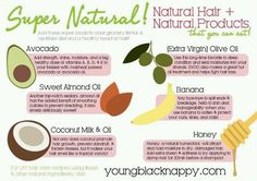 Natural hair products...these are things you probably laying around the house and can do wonders for you hair. mix them all together and u have an awesome deep conditioner.