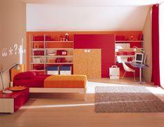 Habitacion naranja y rojo