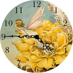 Bright and sunny, this clock features a hopeful fairy nesting in a cozy bloom.