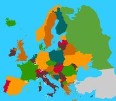 Oefenkaart Europa... Monaco, Andorra, Vatican City, Luxembourg, San Marino, Malta, Lichtenstein