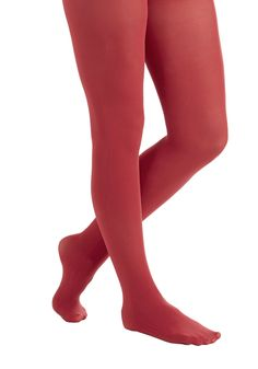 Layer It On Tights in Cherry. Enjoying your favorite warm-weather clothes year 'round is a cinch now that you've welcomed these ModCloth-exclusive tights into your wardrobe! #red #modcloth