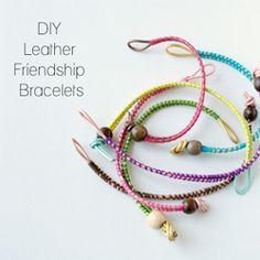 A Colorful leather friendship bracelet tutorial. (via Dismount Creative)