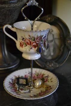 Vintage Floral Tea Cup Jewelry Tidbit Stand | eBay